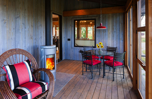outdoor living area with a fireplace in Montana's Paradise Valley