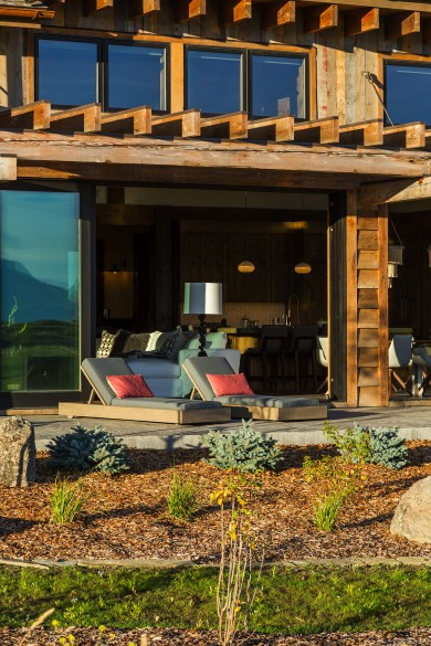 indoor-outdoor living with this open patio that flows into the living area with views of the Bridger Mountains in Bozeman Montana