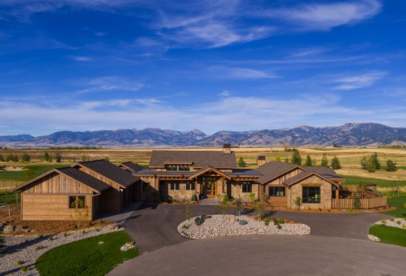 the bridger mountains frame this expansive custom home built by Dovetail Construction in Bozeman, Montana